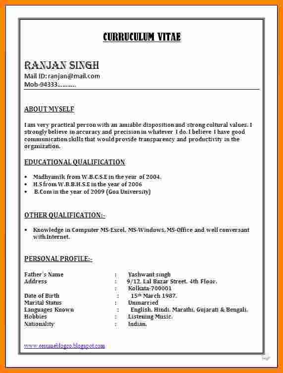 6 Cv Format Word Document Theorynpractice In 2020 Resume Format