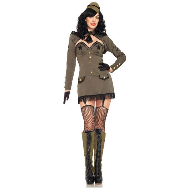pin up army girl costume 87 liked on polyvore featuring - Pin Up Girl Halloween Costumes 2017