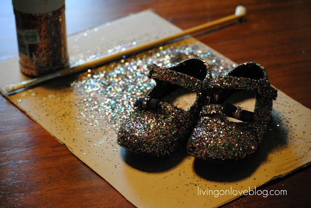 DIY glitter shoes for ava! So doing these