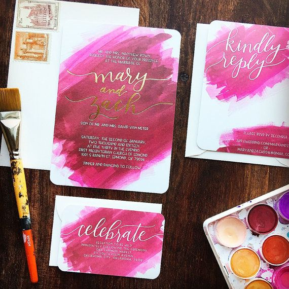 SAMPLE ONLY // Any Color Custom Foil Wedding Invitation Suite // Calligraphy // Hand-lettered // Watercolor Invite