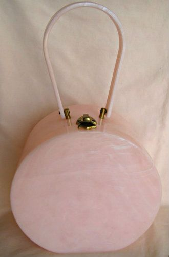Vintage Pink Lucite Hat Box Purse