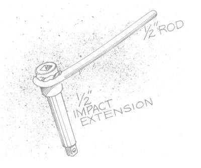 "Impact Wrench Driver by Lehma57 -- Homemade plan for an impact wrench driver constructed from 1/2"" rod and a 1/2"" socket extension. http://www.homemadetools.net/homemade-impact-wrench-driver"