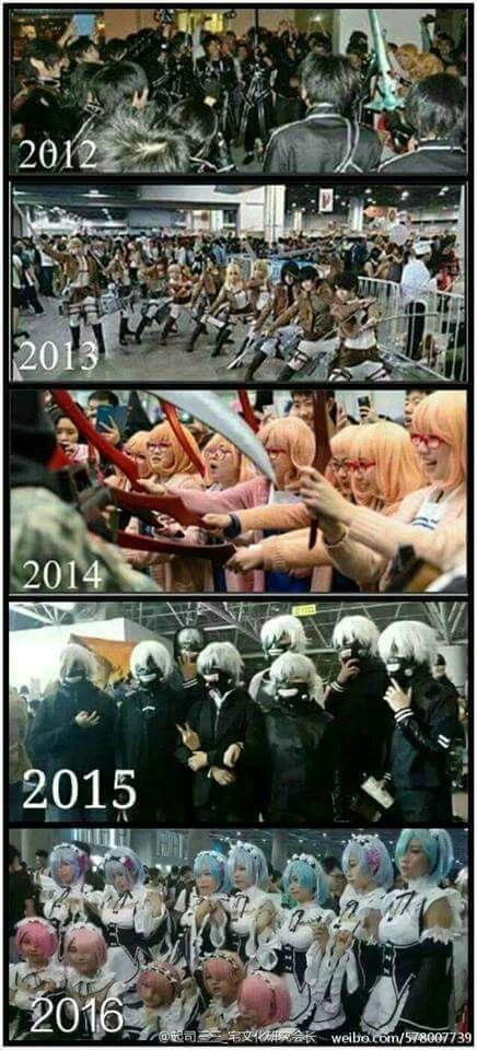 So true. Animes : Sword Art Online, Shingeki no Kyojin, Kyoukai no Kanata, Tokyo Ghoul, Re:Zero Kara Hajimeru Isekai Seikatsu