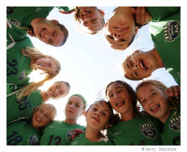 """Daughters soccer team (""""Storm"""") during break at soccer tournament.  Photo by Jerry Hankins"""