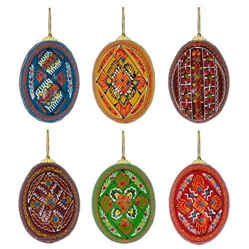 25 Set of 6 Wooden Ukrainian Easter Eggs Pysanky Christmas Ornaments *** Click image to review more details.