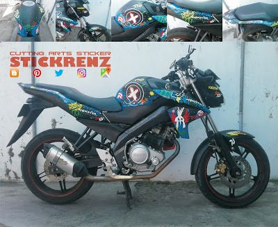 Yamaha Vixion White - Black Mate Wrap & Custom Col...