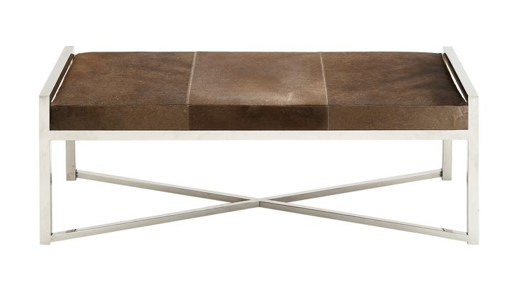 The Simple Stainless Steel Brown Leather Bench