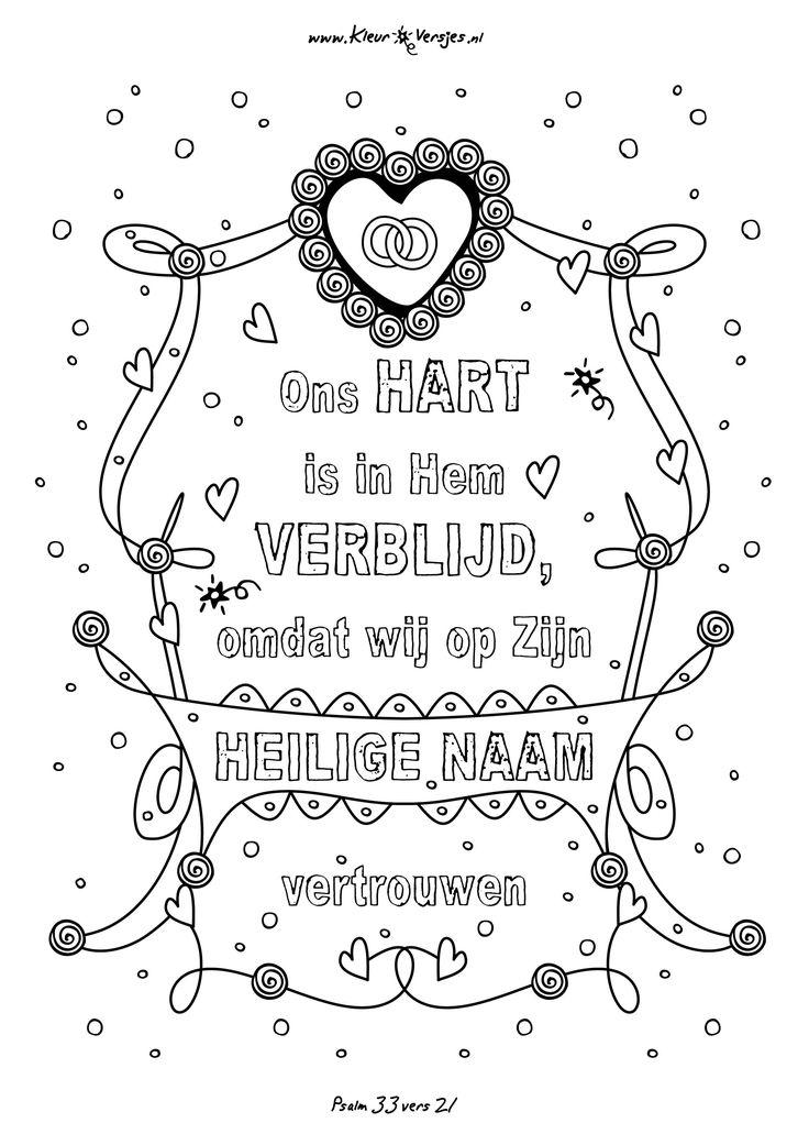 Psalm 33 vers 21 om in te kleuren! Meer op www.kleurversjes.nl