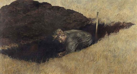 Artwork by Andrew Wyeth, The Sexton, Made of tempera on panel