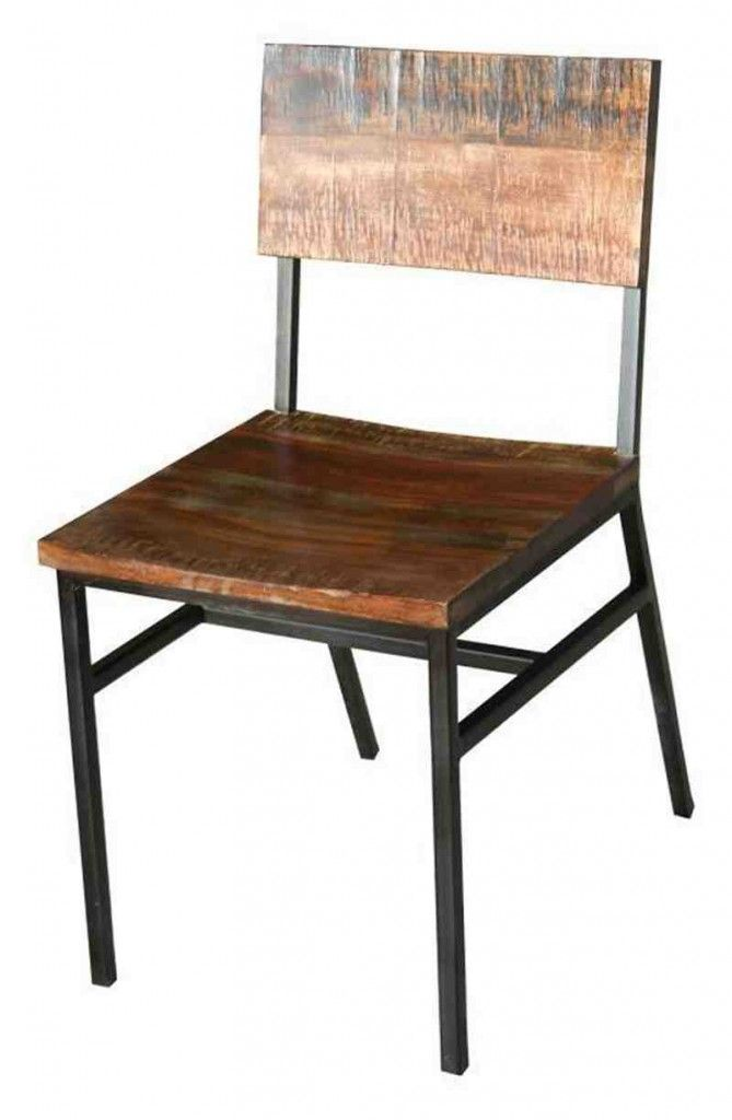 iron and wood distressed industrial dining chair