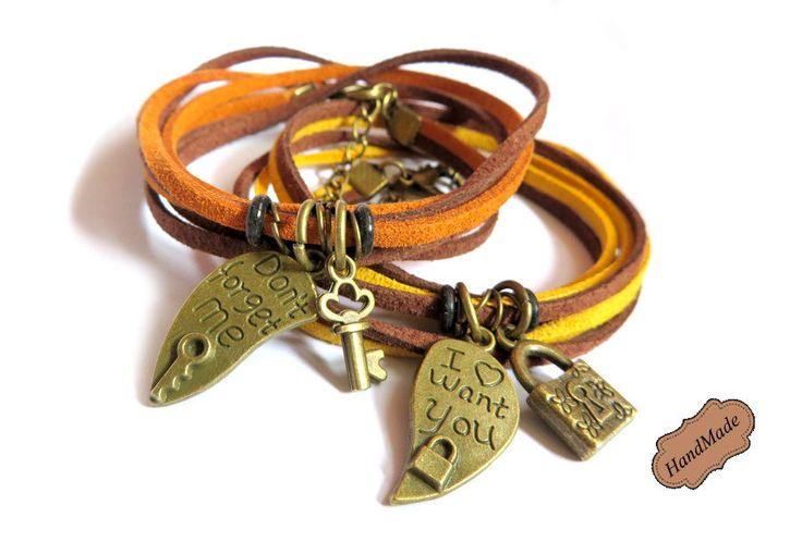 Bracciale Collana Uomo Donna Chiave lucchetto braccialetto di coppia in pelle scamosciata, by «:::Mosquitonero Shop:::», 24,90€ su misshobby.com