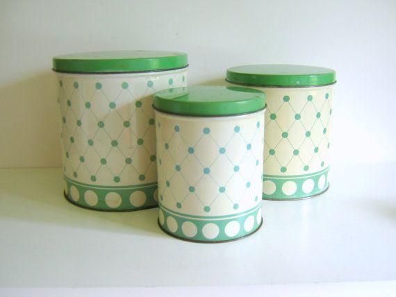 vintage kitchen canister set jadite green polka dots