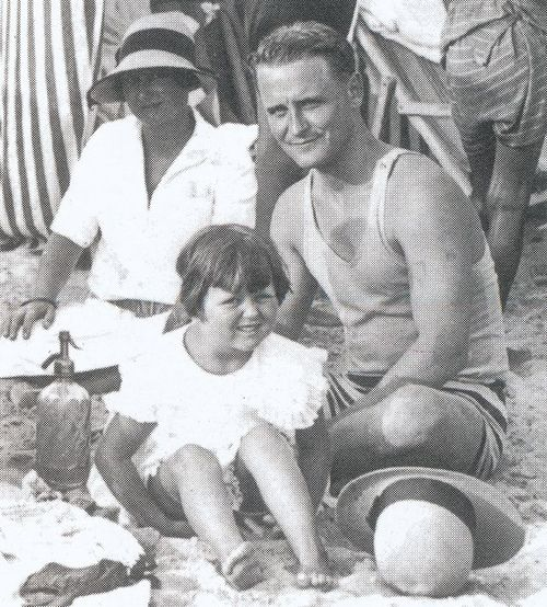 F Scott, Zelda, and Scottie Fitzgerald at the beach.