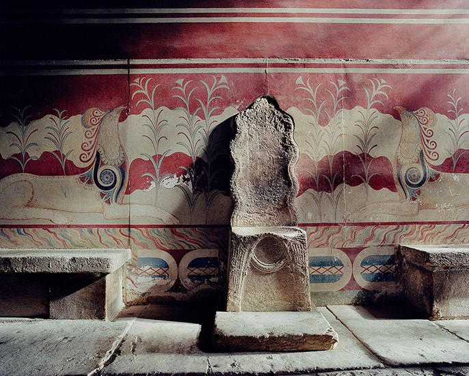 Palace of Knossos, Greece. The hall of throne (myth claims it's the throne of Paciphae, mother of Minotaur.)