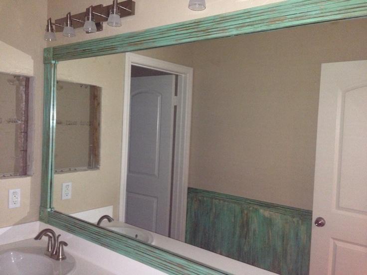 Dress Up A Boring Mirror By Adding Frame We Did This One And I Kid BathroomsBathroom IdeasBeach