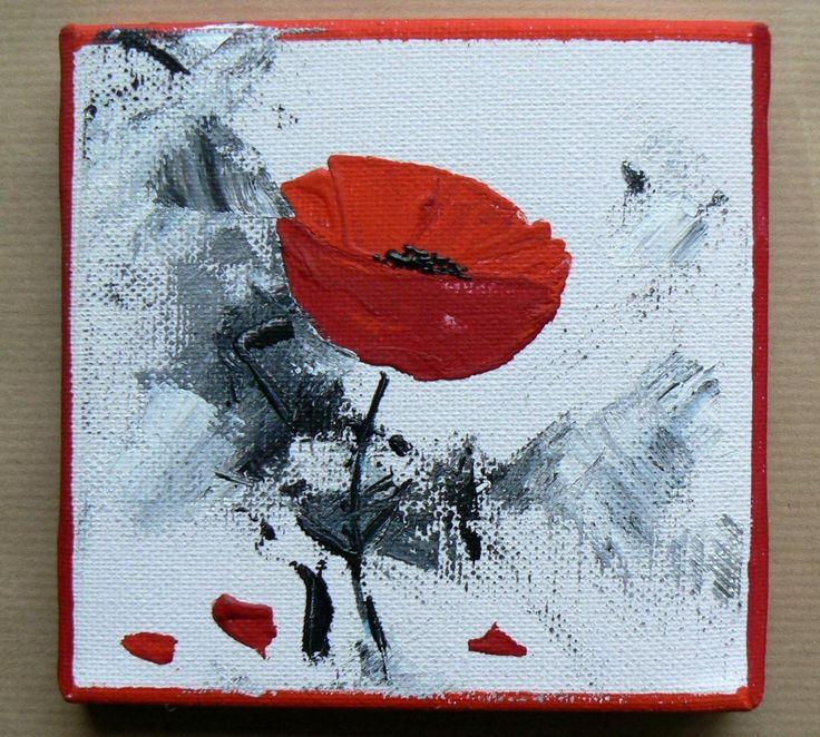 Acrylique sur toile coquelicot rouge peinture tableau for Peinture acrylique cuisine