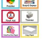 Here are some labels I made for my classroom supplies that are polka dot themed. It really helps my class to see an actual picture of what the mate...