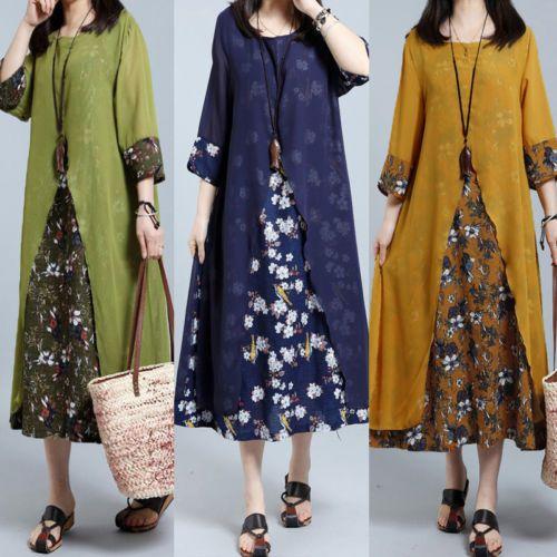 ZANZEA Women's Half Sleeve Long Kaftan Dress Oversized Floral Print Shirt Dress