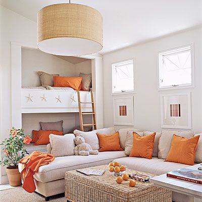 "What a great room for a social kid! Turn a closet into a bunk bed/loft bed and make a ""living room"" out in the main space.: Living Rooms, Bunk Beds, Colors Schemes, Rooms Ideas, Beaches Houses, Families Rooms, Guest Rooms, Bonus Rooms, Built In Bunk"