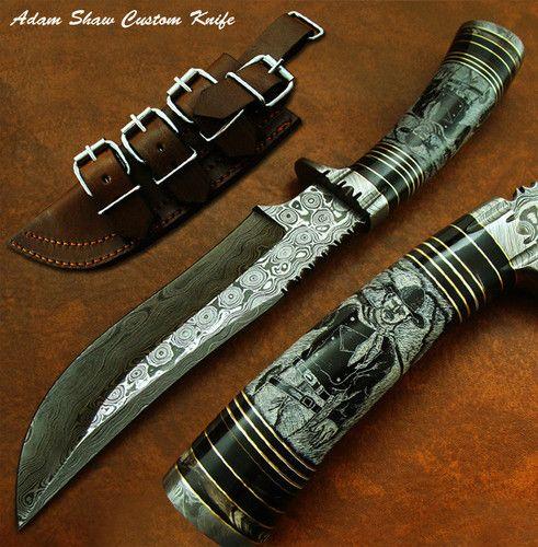 Цена руководство МИЛИТАРИЯ: Адам шоу 1-в своем роде редкие на заказ Дамаск нож | чудесные СКРИМШОУ работы