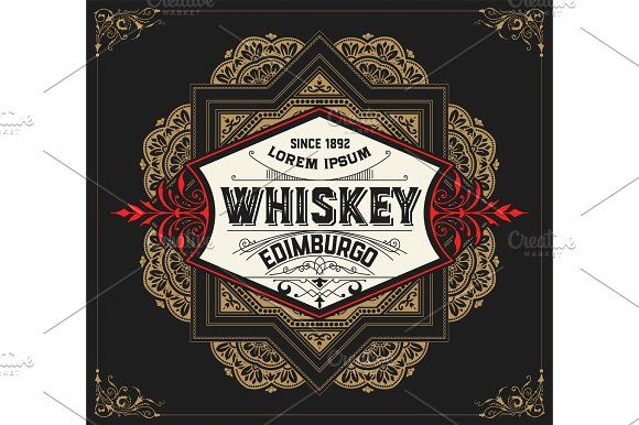 Whiskey label with old frames. Vector layered by OneVectorStock on @creativemarket