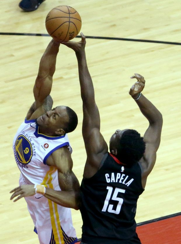 Golden State Warriors Andre Iguodala 9 Defends Against Houston Rockets Clint Capela 1 Houston Rockets Basketball Rockets Basketball Nba Western Conference
