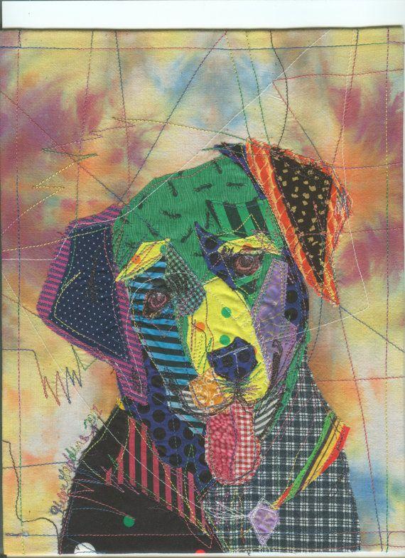 Colorful Lab Doggie Portrait Fabric Art Card Hands Art