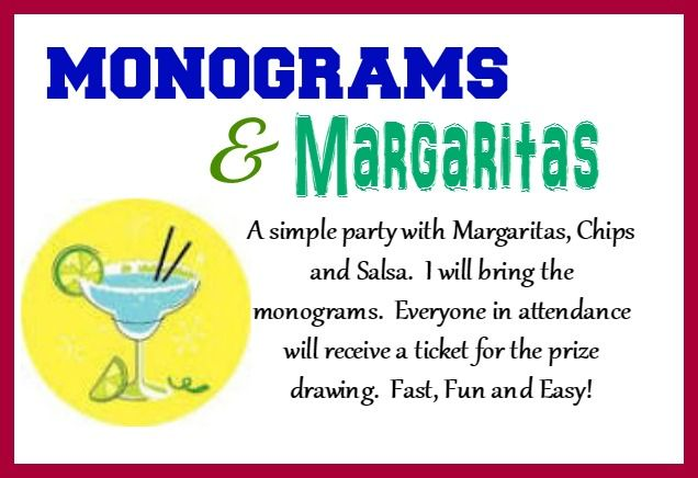 Looking for a fun theme for your Initials Inc. party?  How about Monograms and Margarita's?  It doesn't get much better than having Margarita's with the girls. Kathy Bowen, Independent Creative Leader located in Maryland www.myinitials-inc.com/kathybowen pursepartybiz@gmail.com 410.200.7704