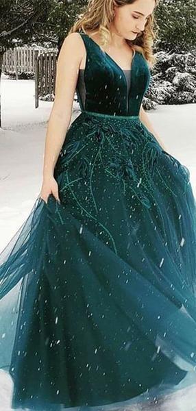 07a58b5dfb7d Teal Velvet Beading Tulle Sleeveless Charming Prom Dresses.PD00285 ...