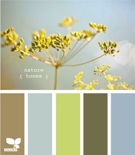 Loving this color palette for when we get around to re-doing our room...our bedspread is about the color of the green in the middle