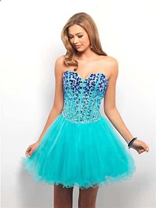 Royal  Aqua Ombre Rhinestone  Tulle Lace Up Short Prom Dress