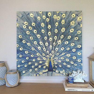 80cm Mavi Peacock Kare Tuval / Altın Özellikleri / Askıya Hazır / Duvar Sanatı / Panel