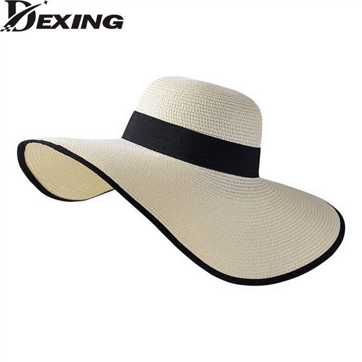 [Dexing] корейский стиль большой козырек Приморский солнцезащитный козырек шляпа женщина вс летние шляпы для женщин ШИРОКИМИ полями соломенной шляпе beach chapeau femme купить на AliExpress