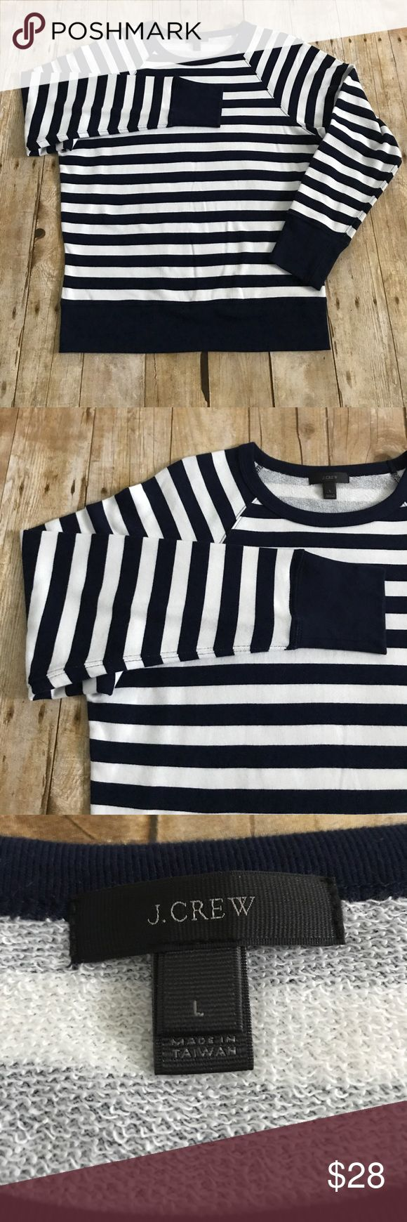 J. Crew French Terry Striped Sweatshirt NWOT. J. Crew French Terry Striped Sweatshirt. Navy blue and white stripes with navy blue cuffs, hem and collar. Super soft and cozy! 100% cotton. Size Large. From a smoke free home. J. Crew Tops Sweatshirts & Hoodies