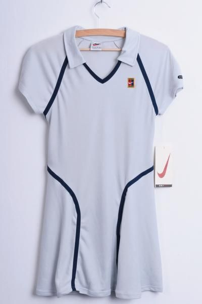 New Nike Womens S Tennis Sport Polo Dress Dri Fit Grey Knee Lenght - RetrospectClothes