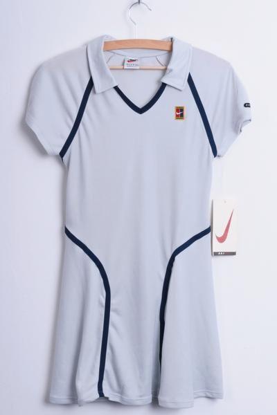 New Nike Womens S Tennis Sport Polo Dress Dri Fit Grey Knee Lenght - RetrospectClothes