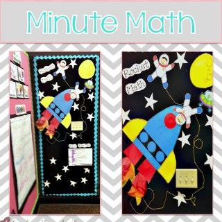 Rocket Math Bulletin Board idea. Kiddos have their rocket and move it along the stars in the sky to their different levels as they pass.