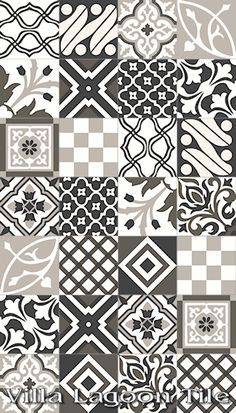 artisan cement patterned tile black white grey - Google Search