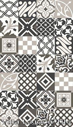 artisan cement patterned tile black white grey - Google Search