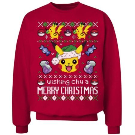 """Pokemon Pikachu Ugly Christmas Sweater Still looking for the perfect """"ugly"""" Christmas sweater? If you ask me this Pokemon Pikachu Ugly Christmas Sweater is more glorious than ugly and certainly will make your Christmas a lot geekier. The sweater is custom made and printed on demand when ordered. #geek #pokemon #christmas #xmas #fashion"""