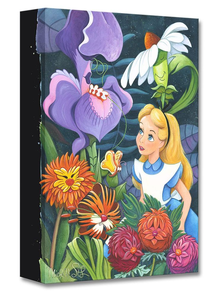 Alice in Wonderland - A Conversation with Flowers - Gallery Wrapped - Michelle St. Laurent - World-Wide-Art.com - #disney #michellestlaurent #disneytreasuresoncanvas #gallerywrapped #aliceinwonderland