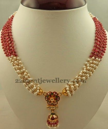 Simple Set with Floral Jhumka Locket   Jewellery Designs