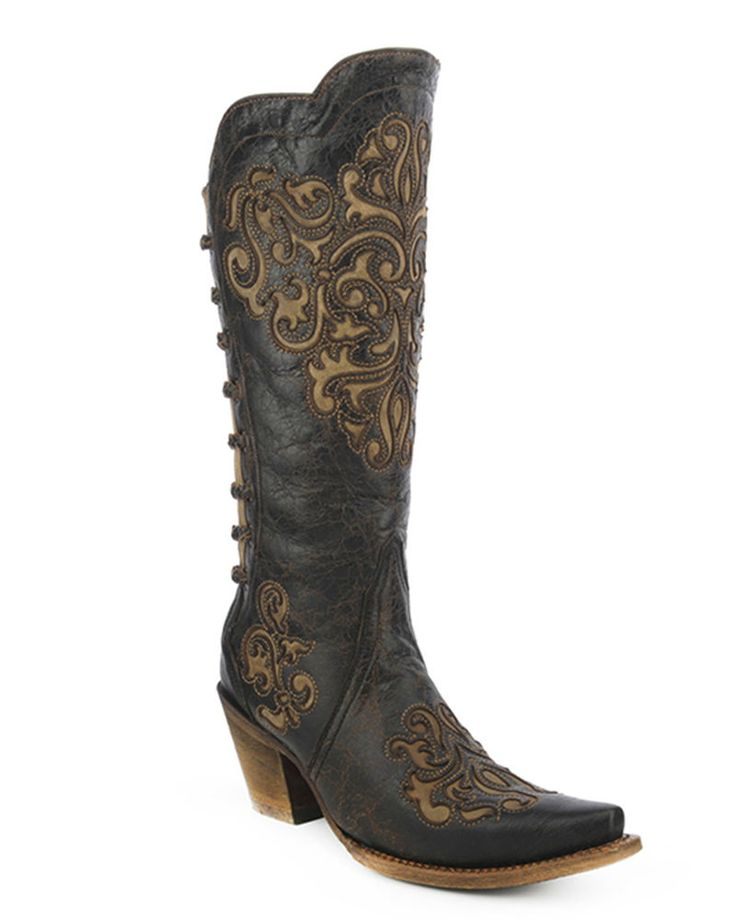 Corral | Women's Black / Bone Snip Toe Boot - A3107 | Country Outfitter