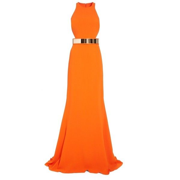 Stella McCartney Belted Stretch Cady Gown ($5,200) ❤ liked on Polyvore featuring dresses, gowns, orange dress, cutout dress, racerback gown, racerback dress and orange gown