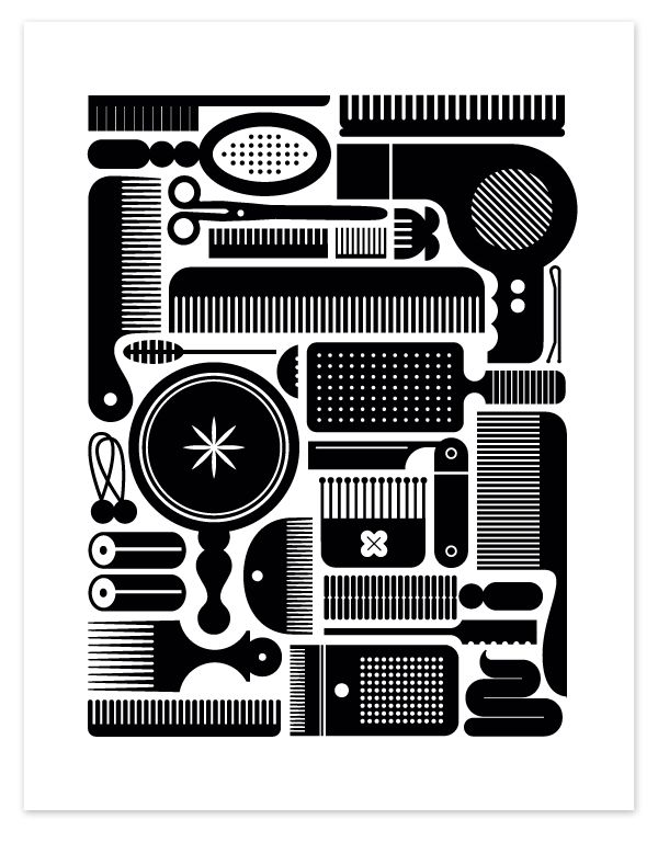 Modern hair styling tools Eight Hour Day » Brush and Stuff Poster