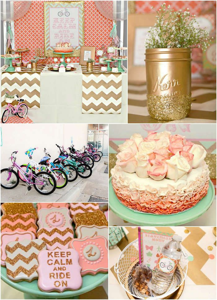 Love this mint, coral and gold bicycle party.  Cute and fresh design and theme.