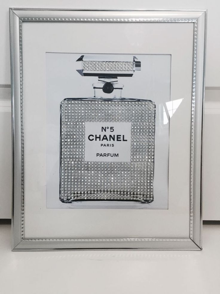 New Chanel No 5 Perfume Embellished Print In Silver