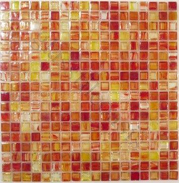 Orange 5/8 x 5/8 Orange 5/8 x 5/8 Glossy & Iridescent Glass  kitchen tile