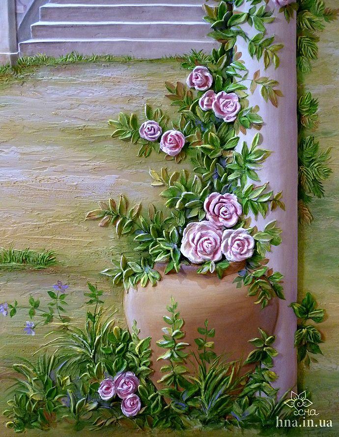 Natalia decorator, painting walls in Moscow, Reutov, Balashikha. Volume sculpture, bas-relief | Wall painting Balashikha | Works | Bulk-painted walls in Moscow