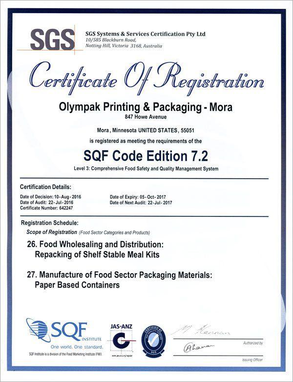 SQF certificate of registration   OlymPak's Printing